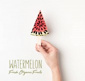Fotografie cropped view of peron holding watermelon slices on stick, with watermelon fresh organic fruits lettering