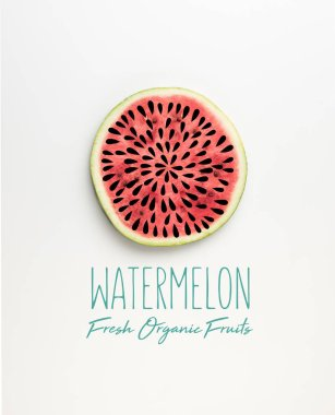 top view of fresh watermelon slice with seeds illustration and