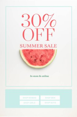 top view of watermelon slice isolated on white with summer sale and 30 percents discount