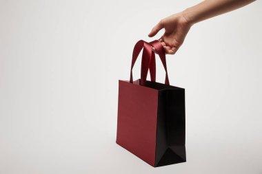 cropped image of girl holding burgundy shopping bag isolated on white