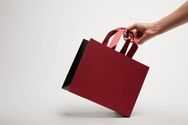 cropped image of woman holding burgundy shopping bag on white