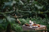 Fotografie berries pie, wine and candles on table in garden with green trees