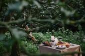 Beeren-Kuchen, Wein und Kerzen auf Tisch im Garten mit grünen Bäumen
