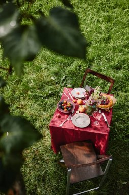 high angle view of table with food and drinks in green garden