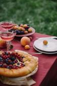 Fotografie koláč dobroučký bobule a sklenic vína na stole v zahradě
