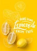 Dvě poloviny citronu a jednoho citronu izolované na žluté s Make limonádu z toho nápisy a ilustrace