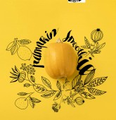One ripe pumpkin isolated on yellow with pumpkin smoothie lettering and floral illustration