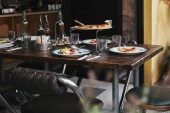 delicious italian meal on rustic table at luxury restaurant
