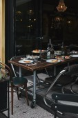 tasty meal on rustic table at modern restaurant