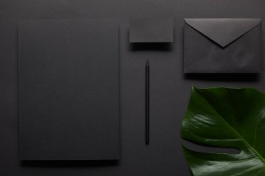 Business mock up with black notebook on black background with monstera leaf