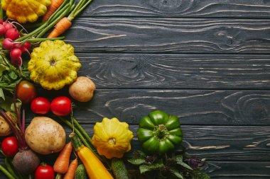 Organic raw vegetables on dark wooden table stock vector