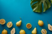 Fotografie top view of palm tree leaf, pears and lemons on blue surface