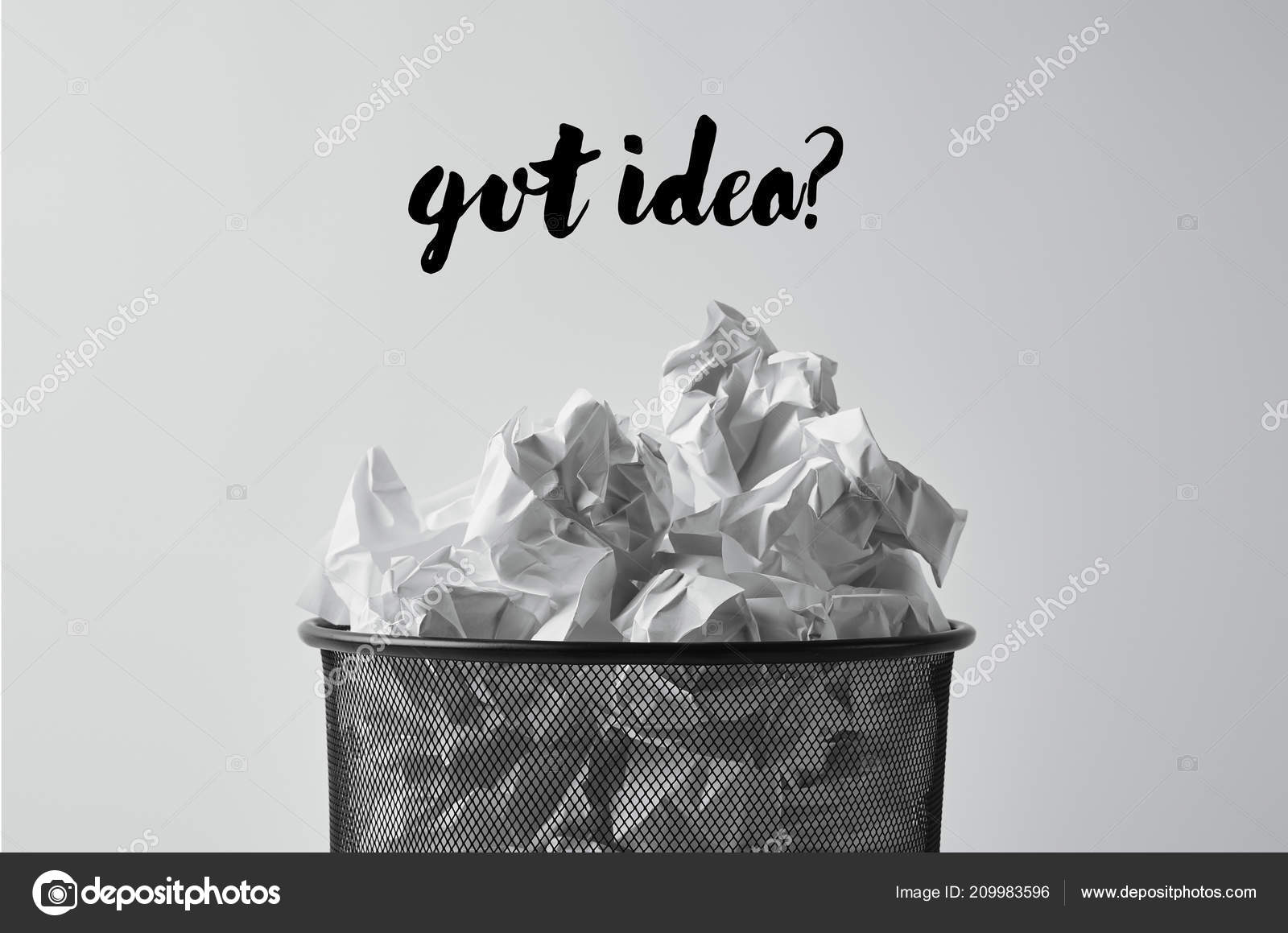 Close Shot Office Trash Bin Crumpled Papers Isolated White Got Stock Photo C Antonmatyukha 209983596