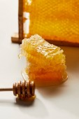 zblízka pohled na dřevěných medu hlubší a zásobníku z včelího vosku na bílém stole
