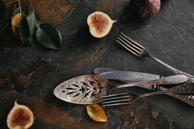 Top view of antique cutlery, green leaves and figs on grungy surface stock vector