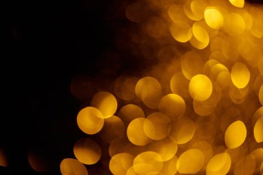 gold bokeh on black background for holiday