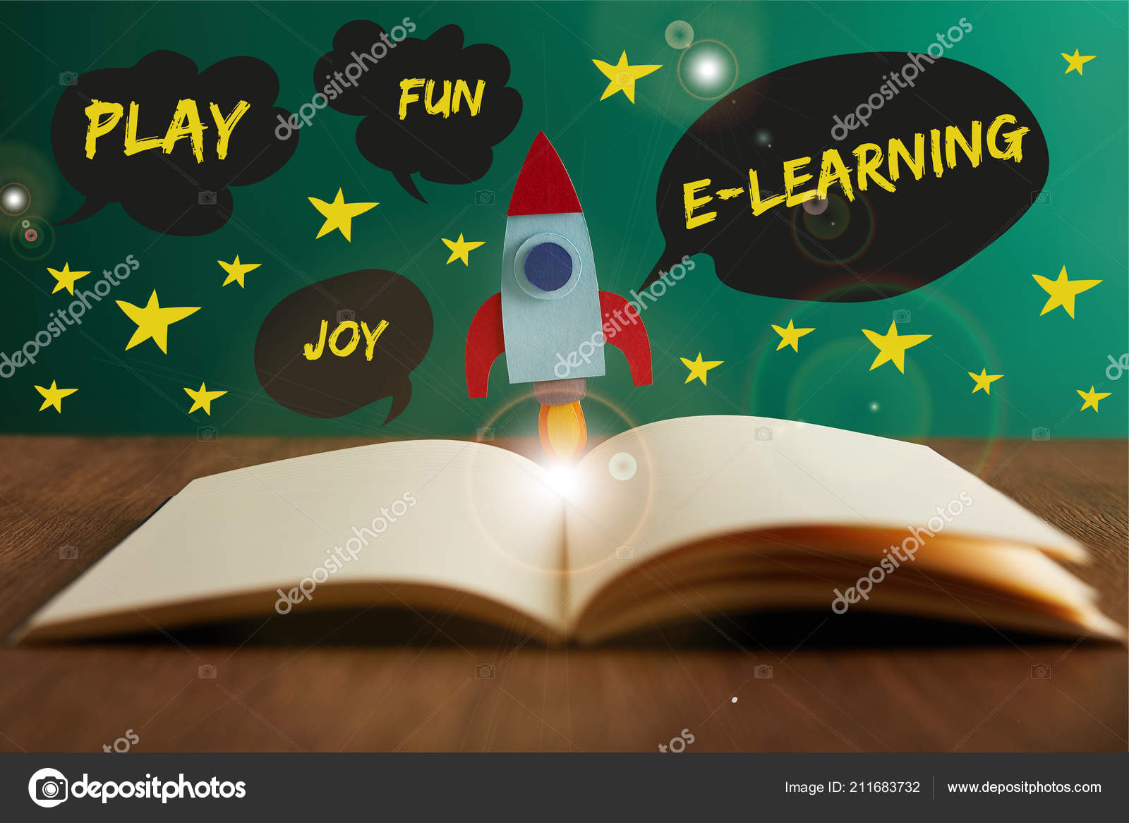 open book colorful rocket wooden table play joy fun learning