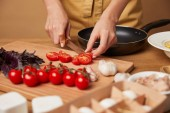 cropped shot of woman in apron cutting cherry tomatoes for pasta