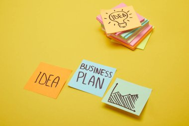 paper stickers with words business plan, idea and chart sign on yellow surface