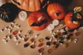 felülnézet, sütőtök, zselés cukorkából és papír denevérek asztalon, halloween koncepció