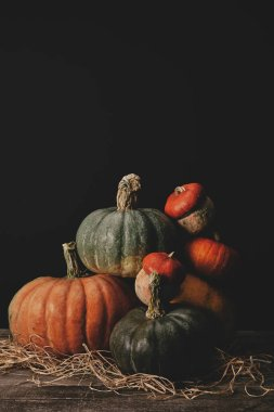 pile of ripe pumpkins on table, halloween concept