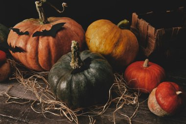 high angle view of pumpkins and paper bats on wooden table, halloween concept