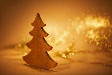 Altın Parlatıcı Noel ağacı üzerinde masa dekorasyon için