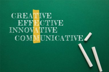 white chalks on green blackboard with creative, effective, innovative, communicative words