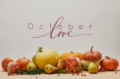 Fotografie autumnal decoration with pumpkins, firethorn berries and ripe yummy pears on tabletop with OCTOBER LOVE lettering