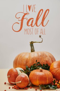 beautiful autumnal decoration with pumpkins and firethorn berries on table with I LOVE FALL MOST OF ALL lettering