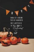 sütőtök, denevérek papír és papír girland szó boldog és halloween vers