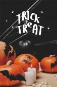 sütőtök, denevérek papír és a pók hálójában a trick or treat halloween betűk táblázat