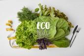Fotografie pohled shora různých zralé zeleniny v poli s příbory a Svinovací metr na bílém povrchu s nápisem eco produkt
