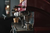 close-up view of professional coffee machine in coffeehouse