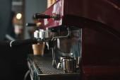 Fotografie Detailní pohled profesionální kávovar v kavárně