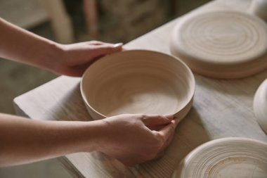 partial view of woman putting ceramic dish on table at workshop
