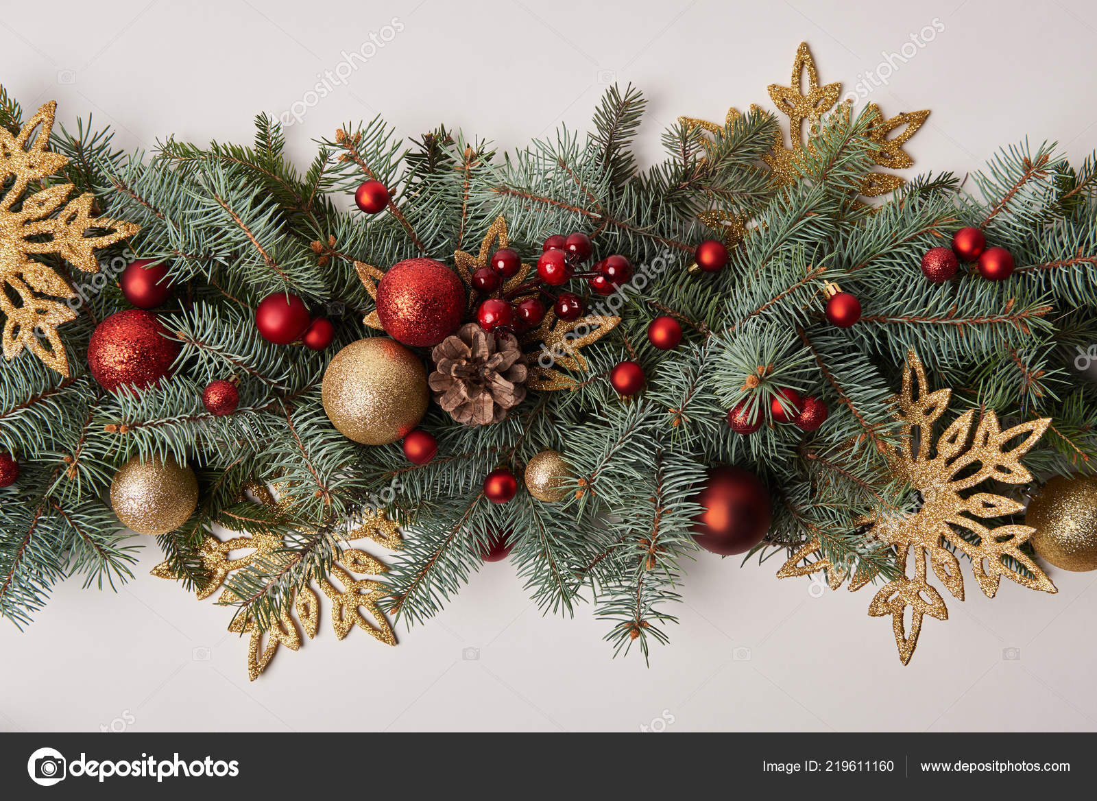 Top View Fir Twigs Colored Christmas Decoration Isolated White — Stock Photo