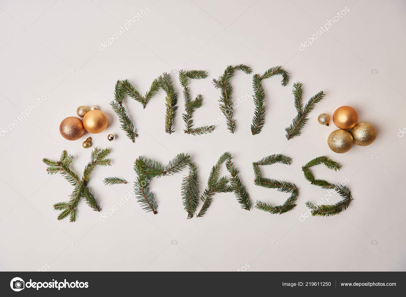 Top View Greeting Merry Xmass Made Fir Twigs Isolated White — Stock ...