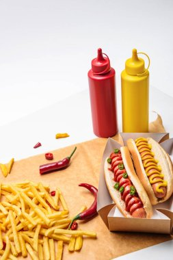 Close-up shot of delicious hot dogs with mustard and ketchup on paper with fries on white stock vector