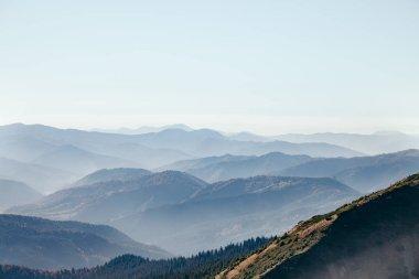 aerial view of beautiful hazy mountains landscape, Carpathians, Ukraine