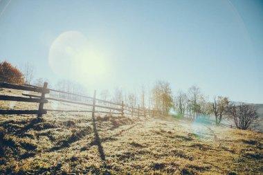 wooden pasture fence in Vorokhta, Carpathians, Ukraine