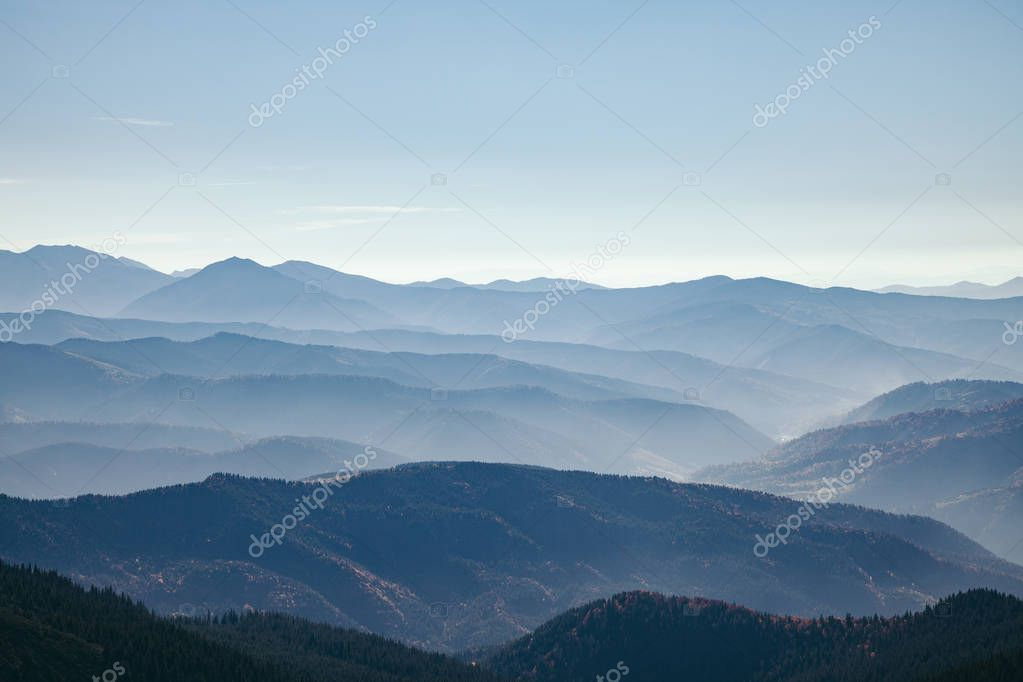 aerial view of scenic hazy mountains landscape, Carpathians, Ukraine
