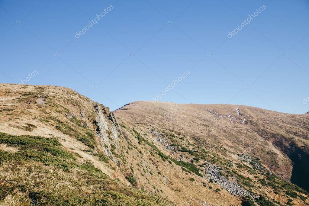 beautiful hills landscape under blue sky, Carpathians, Ukraine