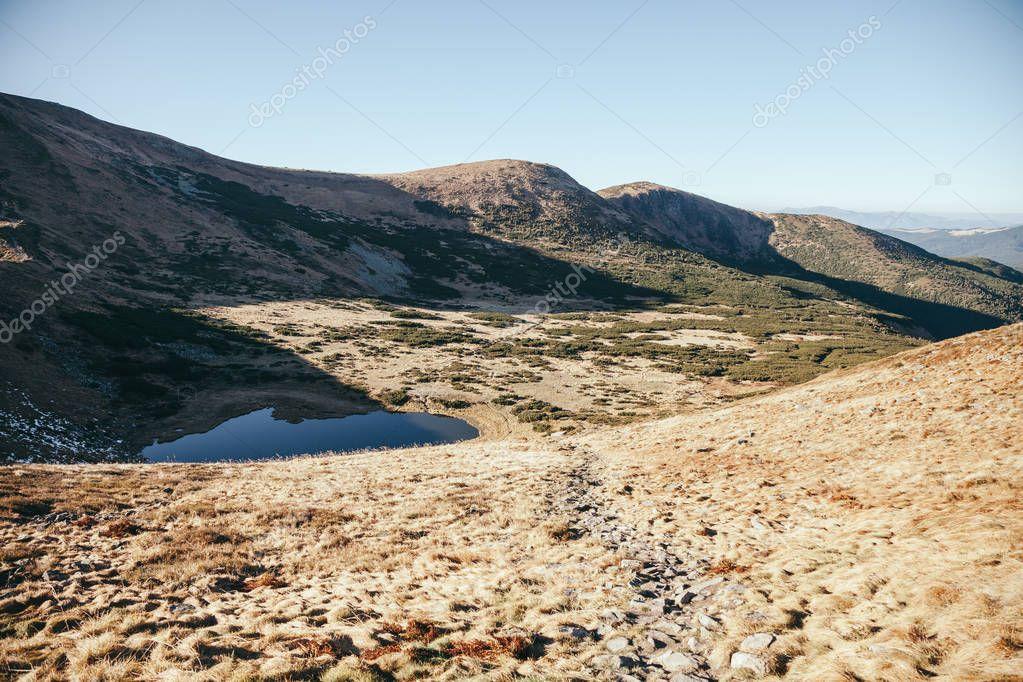 scenic Nesamovyte lake in Carpathian mountains, Ukraine