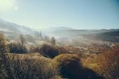 Fotografie Luftaufnahme des wunderschönen Karpaten und Vorokhta Stadt, Ukraine
