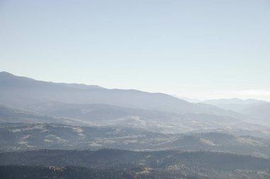 Foggy mountains landscape, Carpathians, Ukraine stock vector