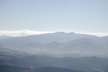 Hazy mountains landscape, Carpathians, Ukraine stock vector
