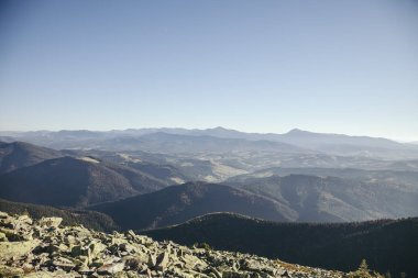 Aerial view of beautiful mountains landscape, Carpathians, Ukraine stock vector