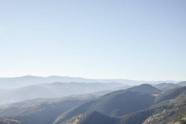 Beautiful hazy mountains landscape, Carpathians, Ukraine stock vector
