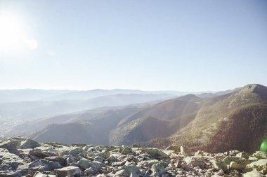 Beautiful mountains landscape under sunlight, Carpathians, Ukraine stock vector